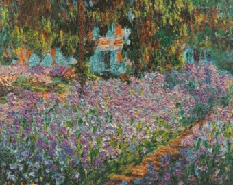 Irises In Monet's Garden PDF Cross Stitch Pattern