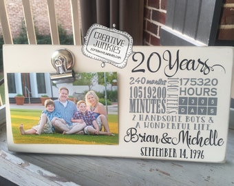 20th Wedding Anniversary Photoboard Frame with Bulldog Clip, Picture Frame, Photo Frame, Memo Board