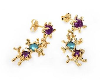 Between The Seaweeds Gold Blue Topaz Earrings, Gemstone Earrings, Gold Amethyst Earrings, Post Dangle Earrings Gold, Unique Earrings