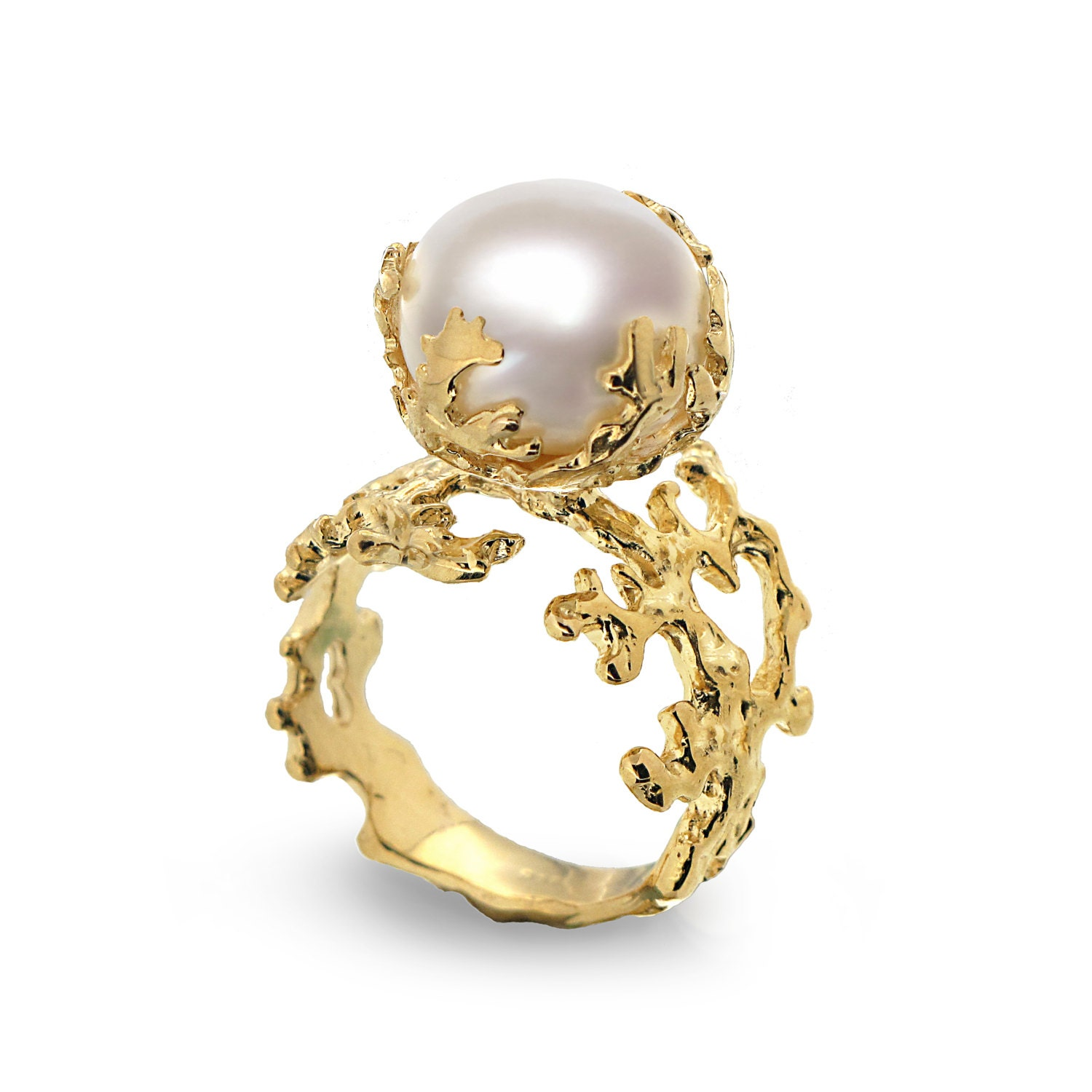 coral pearl gold ring yellow gold pearl ring by aroshataglia