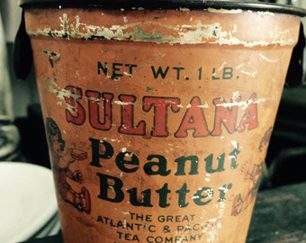 SALE// Antique// Sultana// Peanut Butter Tin// OLD// Grocery// Peanut Butter Tin// Shabby & Oh So Wonderful!