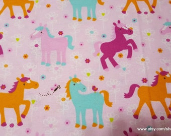 Flannel Fabric - Ponies and Flowers - By the Yard - 100% Cotton Flannel