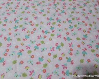Flannel Fabric - Birds & Butterflies - 1 yard - 100% Cotton Flannel