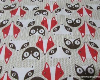 Flannel Fabric - Raccoon, Fox, Owl Tan - 1 yard - 100 Percent Cotton Flannel