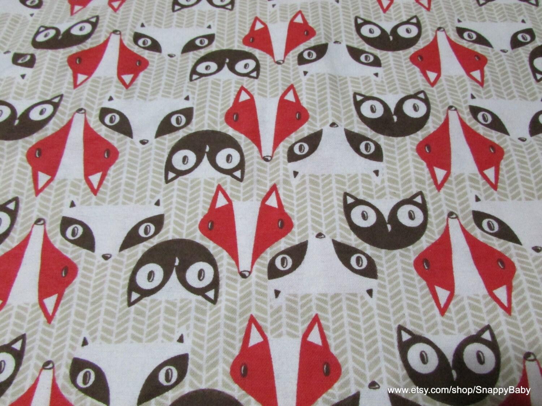 Flannel Fabric Raccoon Fox Owl Tan 1 yard 100 Percent