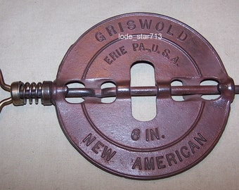 Vintage Griswold Cast Iron Stove Damper 6 inch Cookstove