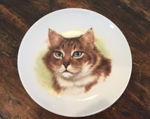 Porcelain Cat Collectors Plate / E. & R. Golden Crown / Blue Eyed Tabby / Bavaria Schumann Arzberg Germany / Portrait / Art
