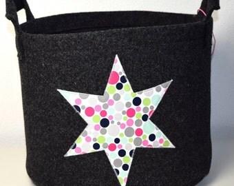 Basket wool felt around with star anthracite Zeitungskob laundry basket