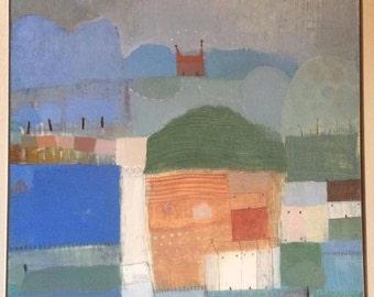 "Oil painting Landscape painting ""Blue Fields"""