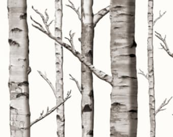 White Birch Tree Drapery Curtain One Panel   Blackout Lining Available    Lined White Birch Tree