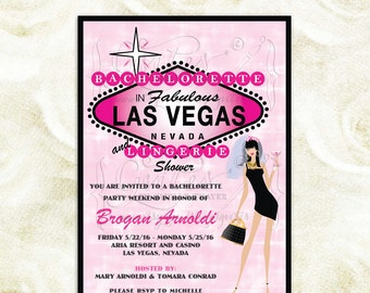 Las Vegas bachelorette & lingerie shower printable invitations, pink shower invites, digital invites, vegas bachelorette party, 5x7.