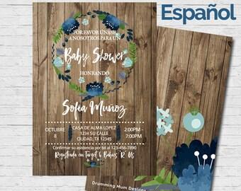 SPANISH Baby Shower Invitation Invitación en Español Boy Rustic Wood Flowers Baby Shower Invite Diaper Raffle Rifa de Pañales Blue Vintage