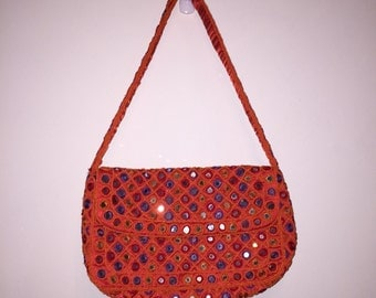 Mod Orange Sequin Handbag WITCHERY