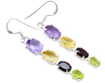 Amethyst Citrine Garnet Peridot Earrings Solid 925 Silver Jewelry EBER753