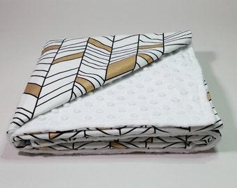 Baby/Toddler Blanket - Black White Gold Geometric Lines