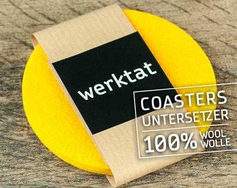 "round felt coasters, Ø 10 cm/3,93"", yellow"