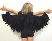 Black Raven Wings Childrens Costume Halloween Dressup Crow, Black bird