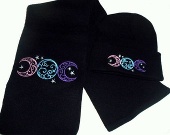Triple Moon Winter Scarf Set Wicca Pagan Yule Gift Set