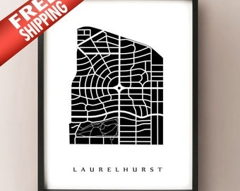 Laurelhurst Neighborhood Map Print - Portland, Oregon