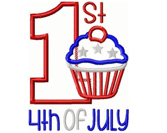 First 4th of July Embroidery Design  5x7 -INSTANT DOWNLOAD-