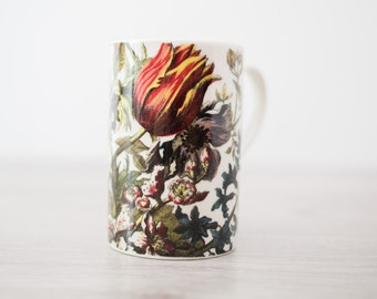 Vintage Collectible Dunoon Flora Mug with Floral Design Adpoted by John Bowles in 1745 / Fine White Stoneware / Made in Scotland