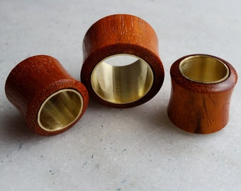 Red Blood wood & Brass Metal Flesh Plug / Tunnels **sizes 14mm / 20mm  **