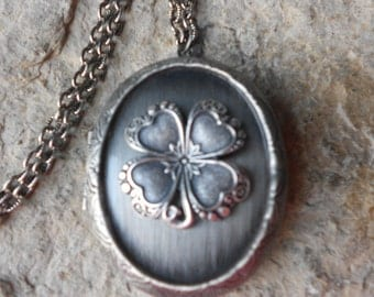 "Irish Shamrock - Four Leaf Clover Antiqued Silver Lockets-  2"" Long - Antique Look - St. Patrick's Day - Irish Heritage, Clover"