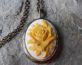Yellow Rose on a Cream Background Cameo Bronze Locket - Antiqued Look - Quality - Wedding -Bridesmaid - Yellow Rose of Texas,  Unique