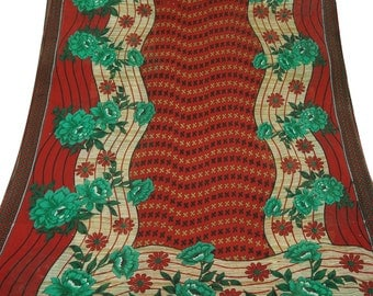 Vintage Maroon Dress Pure Cotton Fabric Recycle Saree Clothing Women Wrap Floral Printed Decorative Fabric 5Yard CS5704