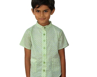 Summer boy's shirt,  short sleeves, mandarin collar, small green print, floral print for boys and baby boys