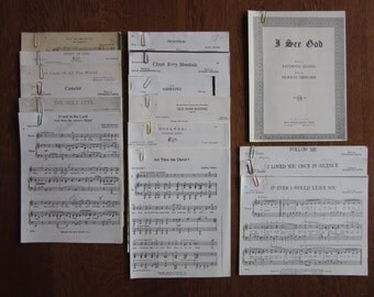 Vintage Lot of Sheet Music Copies, Sacred Sheet Music, Christian Sheet Music, Church, Holy, Vintage Religious Hymns, Choir, Voice,Vocal,Solo