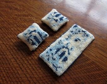 Vintage Doll House Needlepoint Pillows & Floor Mat, Area Rug,Petit Point,Handmade,Blue,Oriental Floral Motif,Miniature Dollhouse Rug,Pillows