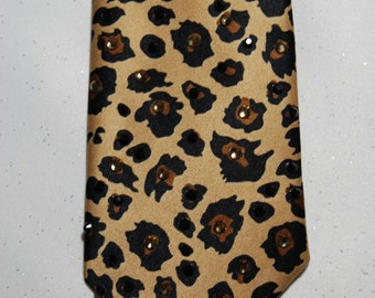 Cheetah print rhinestone necktie
