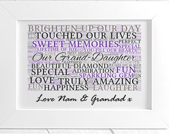 Personalised Grand Daughter Framed Word Art