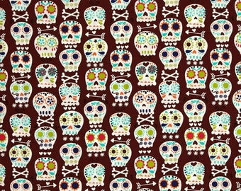 Michael Miller Bonehead Skulls - Cocoa