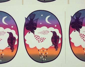 Two Little Blackbirds Sitting On A Cloud Screen Print // Silkscreen Poster // Rainbow, Sunset, Crow, Nursery Art