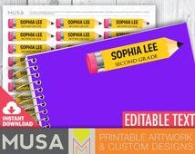 PRINTABLE / EDITABLE Name labels for school supplies / Pencil design