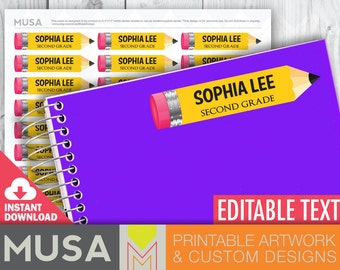 PRINTABLE / EDITABLE Name labels for school supplies / Pencil design