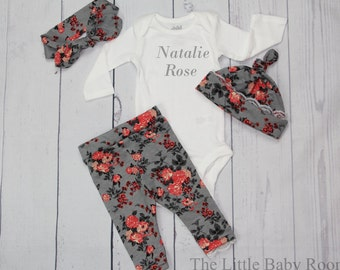 Girls Coming Home Set,Personalized,Baby Leggings,Personalized Onesie,Knot Headband,Girls Gift Set,Leggings lace,Floral,Pants,Head Bow,Baby,