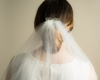 Crystal Comb Wedding Veil (Cathedral, Chapel, Finger Tip, Elbow, High Volume, Illusion Tulle Bridal Veil)
