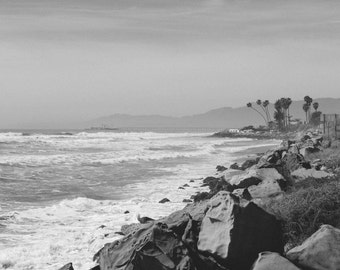 Black and White Ocean Photography - California Coast, Santa Barbara, Film Look, Road Trip, Vintage Style, Wall Decor Fine Art Print