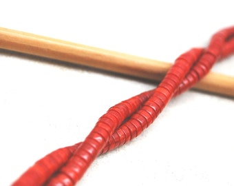 """Bamboo Coral Heishi Beads 5mm 18""""L"""