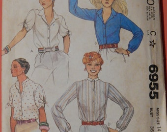 McCall's 6955 Classic front button blouse pattern Size 14