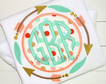 Personalized Monogram Circle Patch with Arrows  Applique Shirt or Onesie Girl or Boy