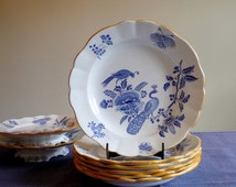 Antique dinnerware set  of 6 deep plates, blue and white pasta or soup plates, Boch Frères Keramis Paon, BFK dinnerware service