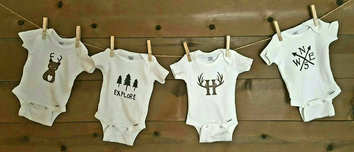 Personalized Woodland Baby Shower Theme Clothesline Kit With
