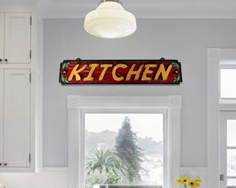 Kitchen Sign Red Kitchen Sign Wood Sign Wooden Kitchen Sign Handmade Kitchen Sign kitchen Dining room sign Family Sign kitchen READY TO SHIP