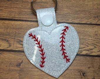Baseball - Softball - Heart -  In The Hoop - Snap/Rivet Key Fob - DIGITAL Embroidery Design