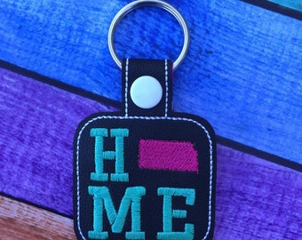 Kansas HOME - State- The Hoop - Snap/Rivet Key Fob - DIGITAL Embroidery Design