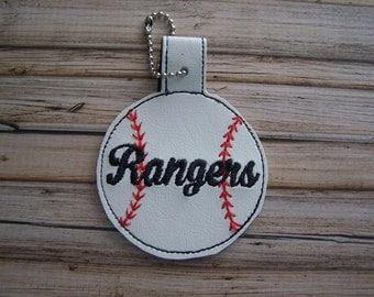 Rangers - Baseball - In The Hoop - Snap/Rivet Key Fob - DIGITAL Embroidery Design